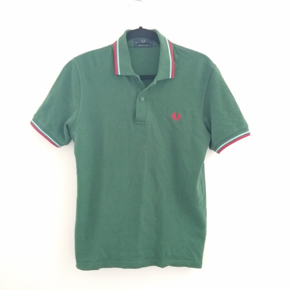 Fred Perry Other - Fred Perry green red colored medium pique polo